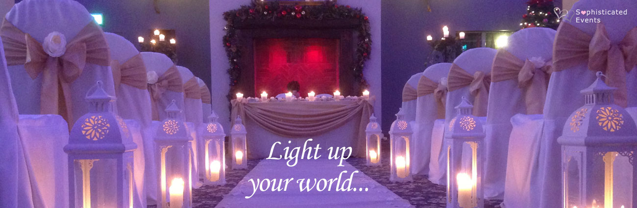 Light up your world with LOVE letters, fairylight backdrops, lanterns and trees to light up your wedding...