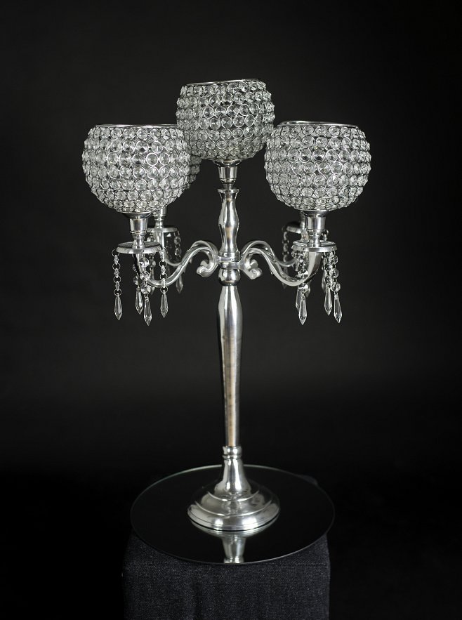 Five arm globe crystal and silver candelabra