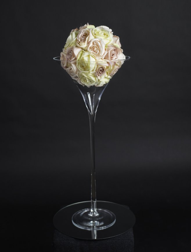 Large martini glass with floral display