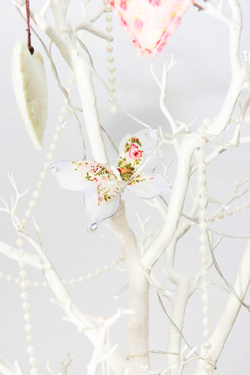 White wedding crystal tree with butterfly and heart decorations