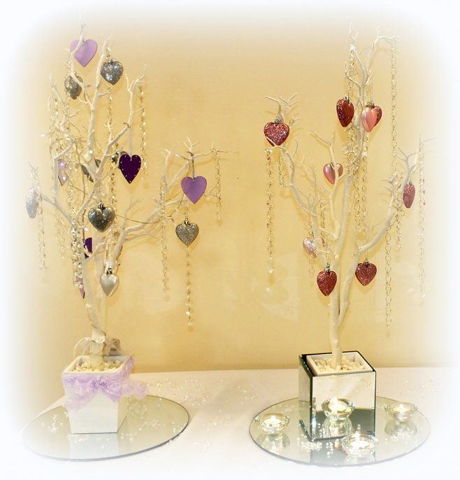 Crystal trees with pink and purple accessories