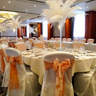 Feather displays and venue dressing corporate event services at Hilton Blackpool