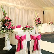 Hot pink taffeta and black organza double sash bows over cotton ivory chair covers