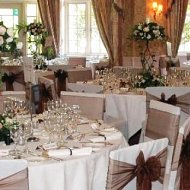 Dark chocolate brown organza sash over ivory cotton chair covers
