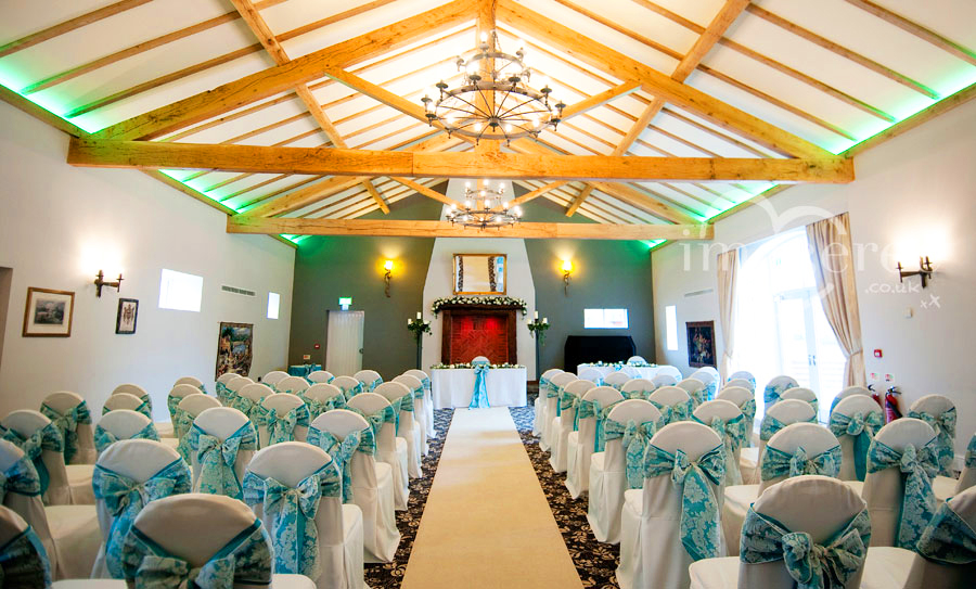 ... Vibrant Teal Taffeta With White Lace Flock Overlay Double Sash Bows  Over White Cotton Chair Covers ...