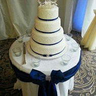 Nautical navy taffeta cake table sash and bow with diamante decoration