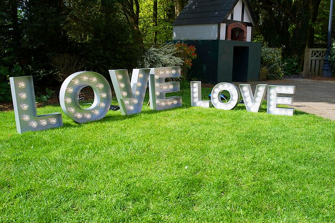 Free Standing Silver Light Up LOVE Letters Sign