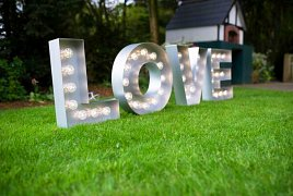 Fairylight backdrops, LOVE letters & lighting hire
