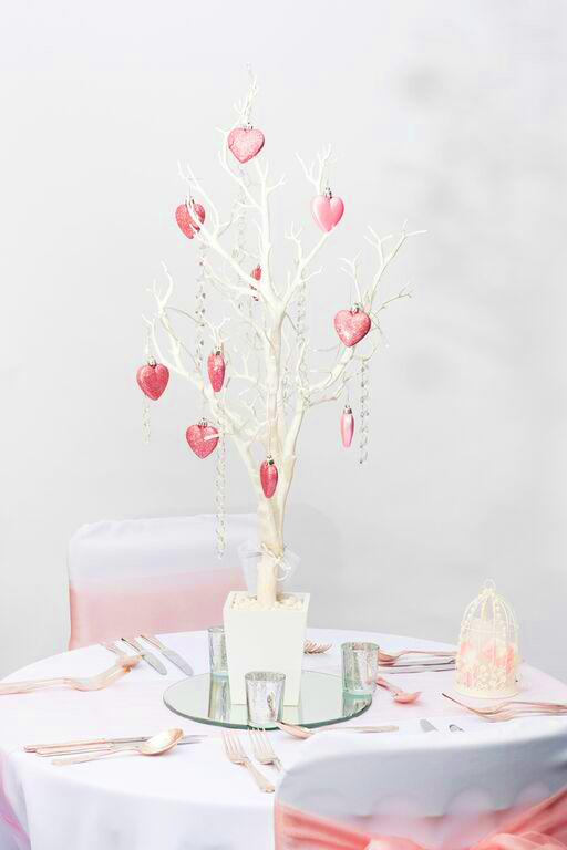 White wedding crystal tree with pink sparkly hearts